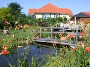 Teichlandschaft mit Wassefall